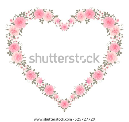 Garland Of Roses On A Vintage Striped Background Vector Floral