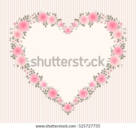 Garland Of Roses On A Vintage Striped Background Vector Floral Frame In Shape