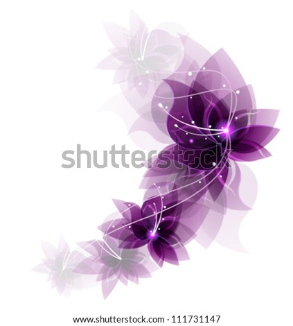 garland of  transparent lilac flowers on a white background