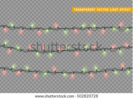 Stock Photo Garlands, Christmas decorations lights effects. Isolated vector design elements. Glowing lights for Xmas Holiday greeting card design. Christmas decoration realistic luminous garland