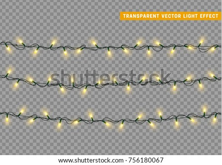 Shutterstock Garlands color yellow isolated vector, Christmas decorations lights effects. Glowing lights for Xmas Holiday.