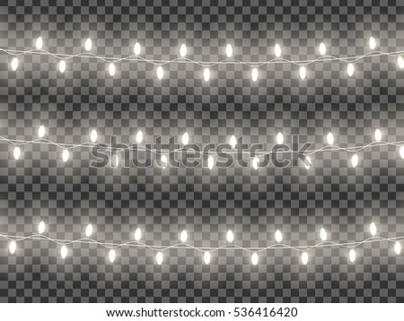 Glowing Christmas Lights Isolated On Transparent Background
