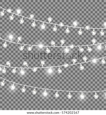 Garlands with round bulbs on dark transparent background. Christmas lights design elements with black ropes and light lamps. Vector illustration of festive holiday card with lightning objects