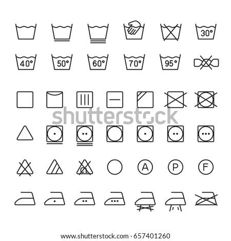 Garment care symbols: thin monochrome icon set, black and white kit