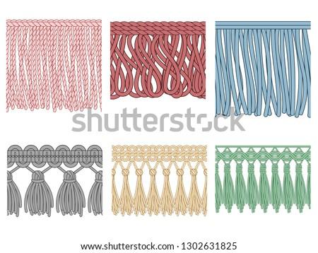 Garment fringe. Ruffle seam trim, raw textile edge and tassel braid ruffles. Fashion frills tools, yarns material fabric. Isolated seamless patterns illustration icons set Stockfoto ©