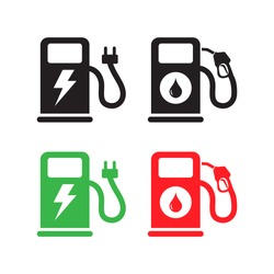 Gas and Electric Car Charging Station icons. Vector.