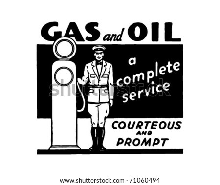 Gas And Oil 3 - Retro Ad Art Banner