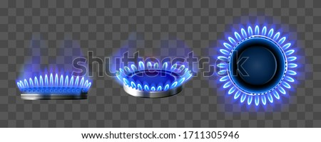 Gas burner with blue flame. Glowing fire ring on kitchen stove in top and side view. Vector realistic mockup of burning propane butane in oven for cooking isolated on transparent background