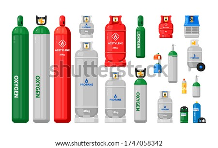 Gas cylinders. Metal tanks with industrial liquefied compressed oxygen, petroleum, LPG propane gas containers and bottles set. Gas cylinders with high pressure and valves Stock foto ©