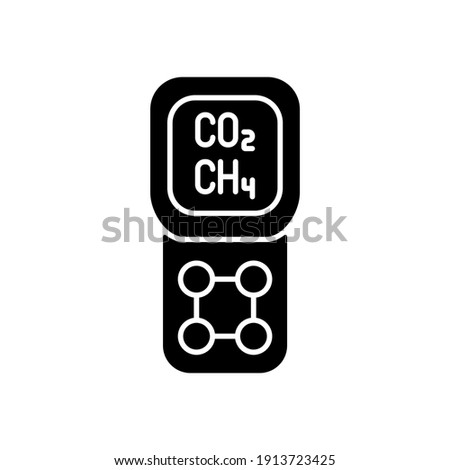 Gas detector black glyph icon. Detecting gas leak and other emissions. Safety system. Concentration in atmosphere measurement. Silhouette symbol on white space. Vector isolated illustration Stockfoto ©