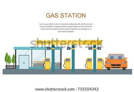 Gas filling station. Energy. Vector flat illustration