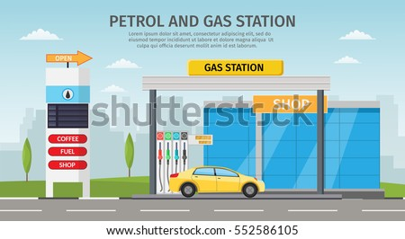 Gas filling station Vector flat illustration oil service with shop infographics elements and background