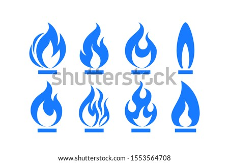 Gas flame icon. Blue fire pictogram set Vector illustration isolated on a white background in flat style. stock photo