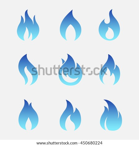 Gas flames vector icons isolated from the background. Sign set blue burning natural gas in the flat style.