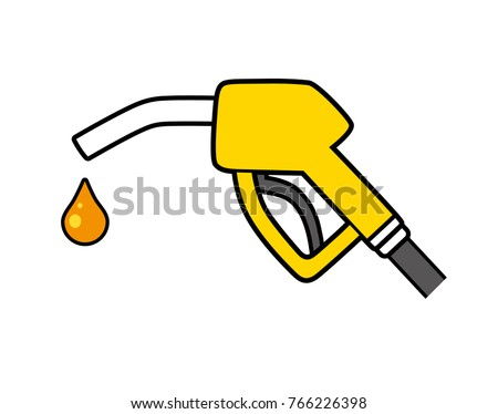 Gas fuel pump nozzle and drop. Gasoline or petrol filling station icon.