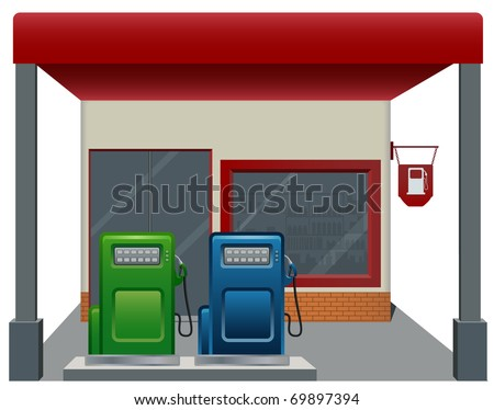 gas   fuel station with two