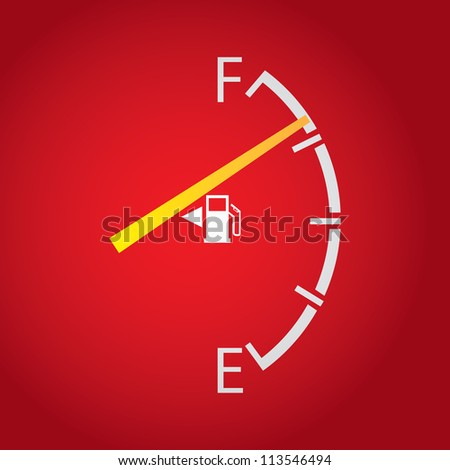 gas gage isolated on a dark red background.