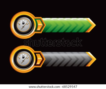 gas gauge on green and black arrows - stock vector