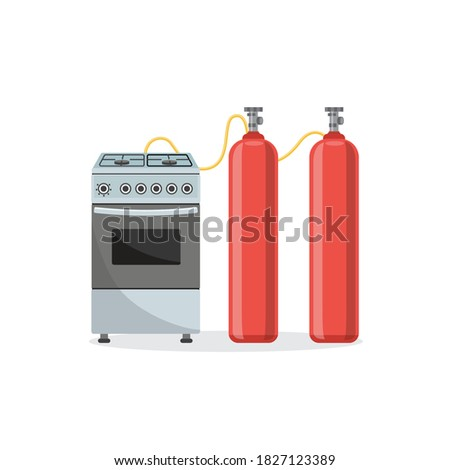 gas kitchen oven connected with