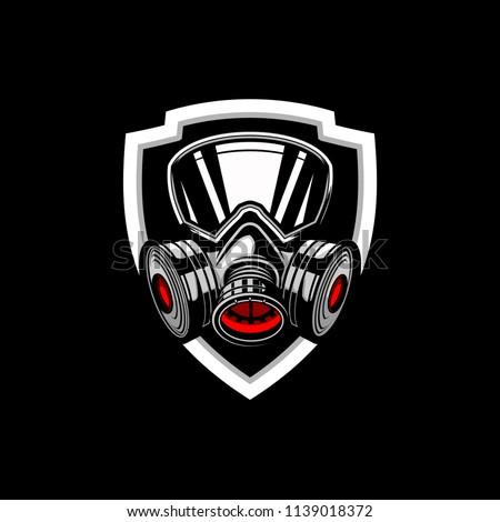 gas mask badge logo vector