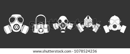 gas mask icon set vector white