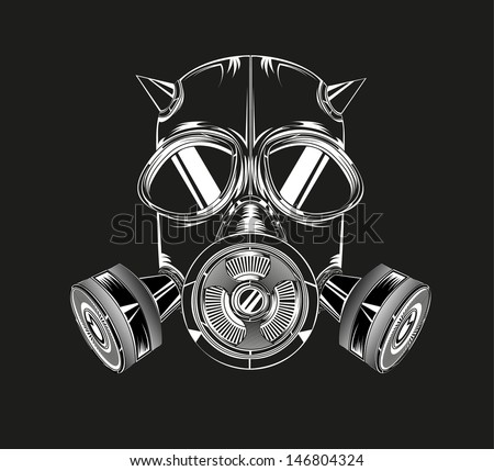 gas mask on a black background