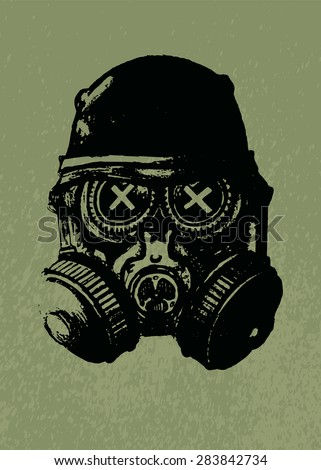 Stock Photo Gas mask skull with helmet.pencil drawing illustration