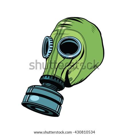 gas mask  vintage rubber green  ...