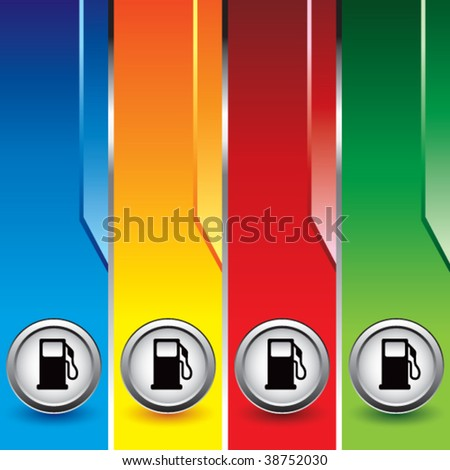 gas or fuel icon on vertical colored banners - stock vector
