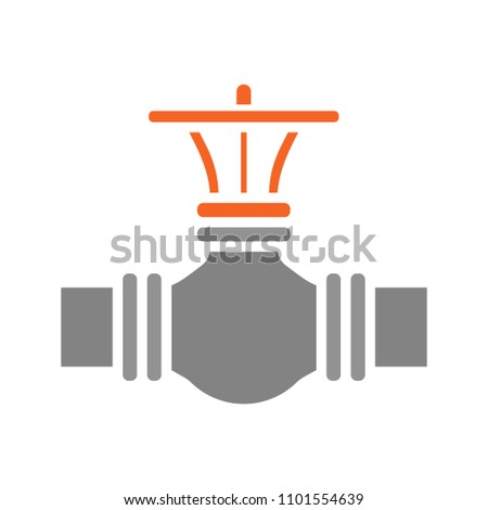 Gas pipe valve glyph color icon. Industrial pipeline. Silhouette symbol on white background with no outline. Negative space. Vector illustration