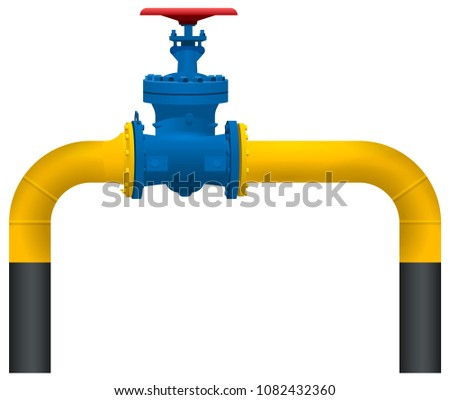 Gas pipeline yellow pipe and big gas valve. Isolated on white vector illustration