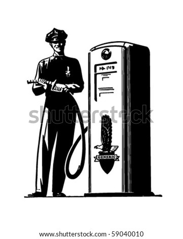 Gas Pump Attendant - Retro Clip Art