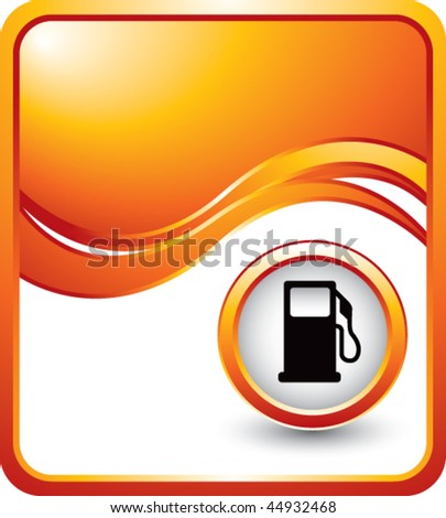 gas pump icon orange wave background