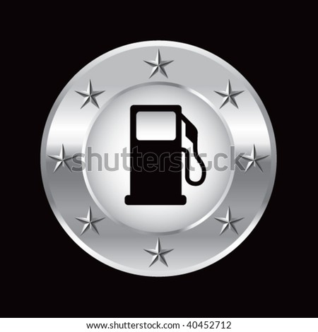 gas pump on silver star background