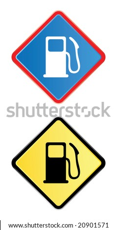 gas pump road sign in blue and yellow