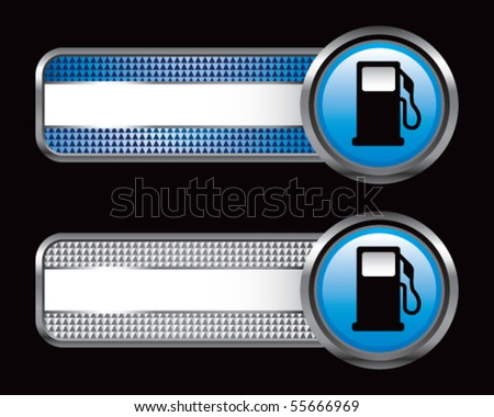 gas pump silhouette on blue and silver striped checkered tabs