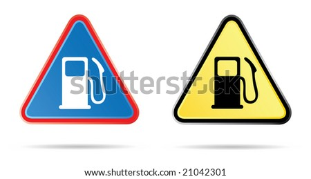 gas pump triangular road sign in colors