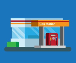 Gas station and convenience store in rest area highway in flat illustration vector