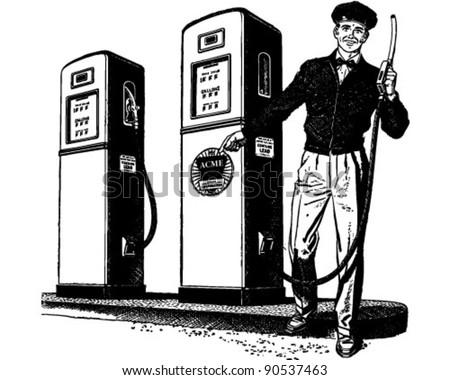 Gas Station Attendant 2 - Retro Clipart Illustration