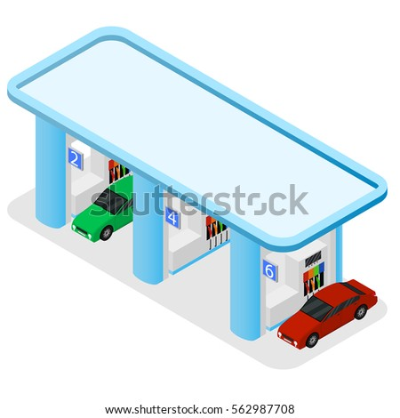 gas station building and cars