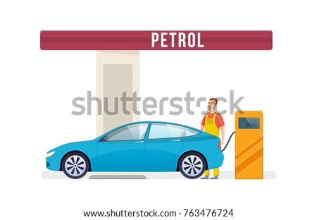 Gas station. Car service. Fuel petrol station. Worker man filling fills petrol, fuel into the car. Oil, fueling petrol with shop. Work in auto petrol station. Vector illustration in cartoon style.