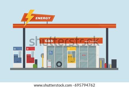 Gas station cartoon flat vector illustration.