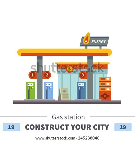 Gas station. Energy. Set of elements for construction of urban and village landscapes. Vector flat illustration