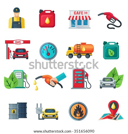 gas station flat color icons