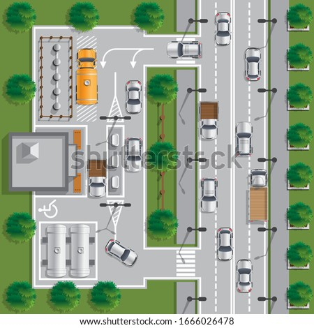 Gas station for cars. Vector illustration.