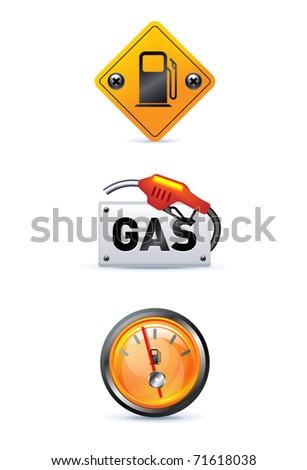 gas station icon set on white