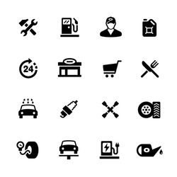 Gas Station Icons // Black Series - Vector icons for your digital or print projects.