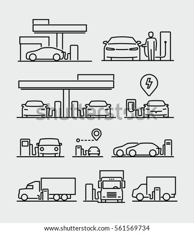 Gas station or electric vehicle charging station vector line icons