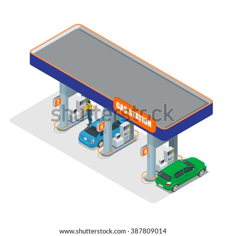 Gas station. Petrol fuel tank, gasoline. Refilling, cleaning, shopping service. Self-service concept. Can be used for advertisement, infographics, game or mobile apps icon.