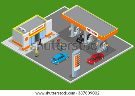 Gas station, petrol station fuel tank, fuel pump, car, shop, oil station, gasoline. isolated vector illustration. Refilling, cleaning, shopping service.